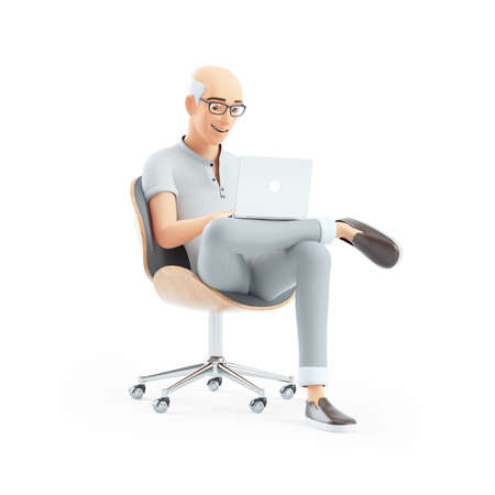 3d senior man sitting in chair with laptop, illustration isolated on white background