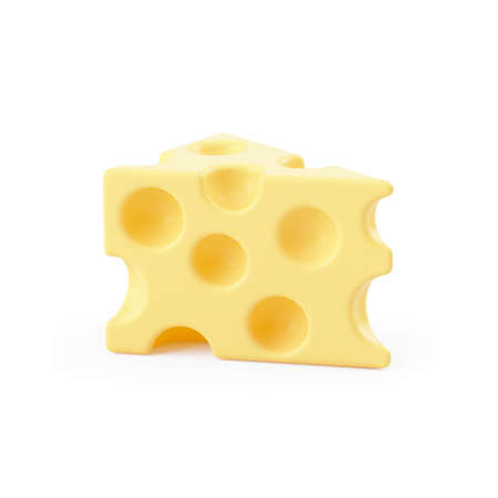 3d illustration of piece of cheese, illustration isolated on white background