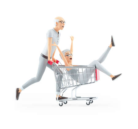 3d senior man pushing woman inside shopping cart, illustration isolated on white background