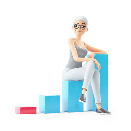 3d senior woman sitting on bar graph, illustration isolated on white background Banque d'images