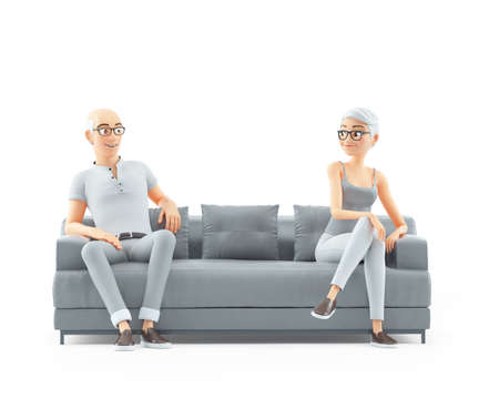 3d senior man and woman sitting on sofa and looking each other, illustration isolated on white background