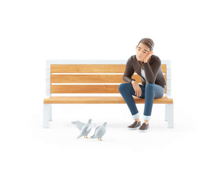 3d bored cartoon man sitting on public bench, illustration isolated on white background