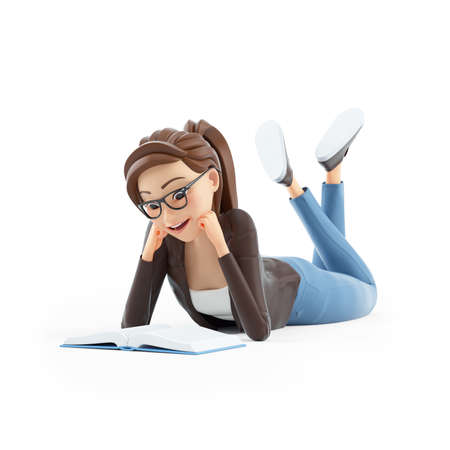 3d cartoon woman reading book lying down on floor, illustration isolated on white background