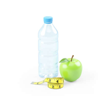 3d illustration of water bottle with apple and measuring tape, illustration isolated on white background