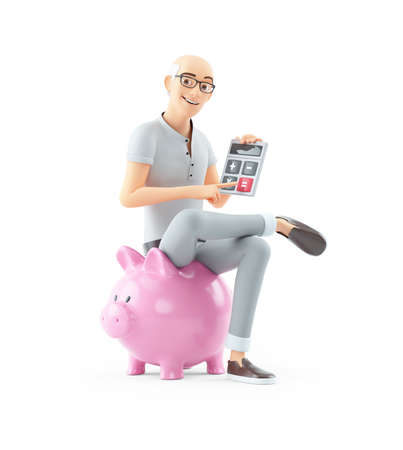 3d senior man sitting on piggy bank with calculator, illustration isolated on white background