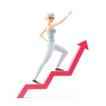 3d senior woman walking on growing arrow, illustration isolated on white background