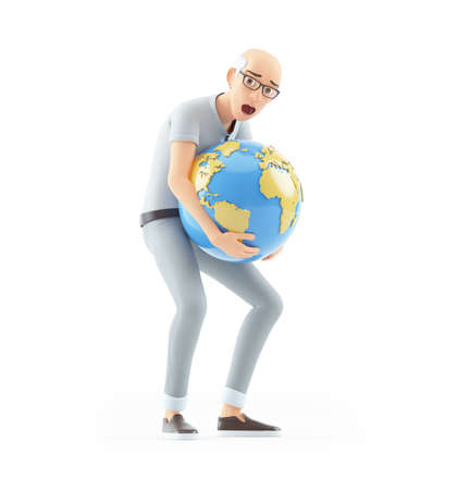 3d senior man lifting heavy earth, illustration isolated on white background