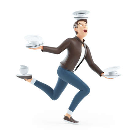 3d cartoon man balancing on one leg with tableware, illustration isolated on white background