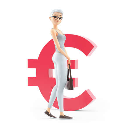 3d senior woman in front of euro sign, illustration isolated on white background