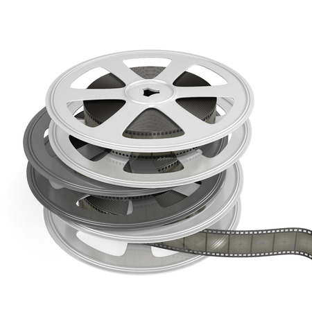Reels of film isolated on white baclground. 3D render image. photo