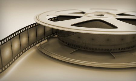 Retro reel film close-up. 3D render image. photo