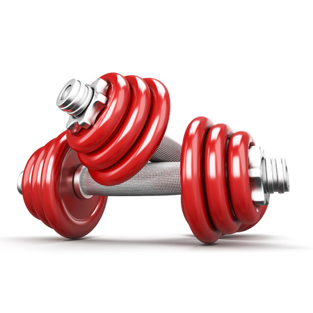 Two red dumbbells on white background. 3d render iamge photo