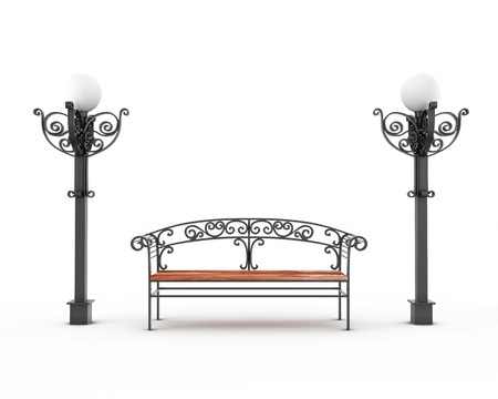 electric avenue: Bench and two lamps on a white background. The place to stay. Front view. 3d render image. Stock Photo