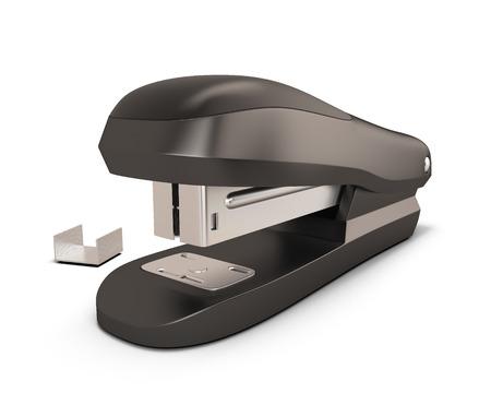 Black stapler illustration. Black stapler isolated on white background. 3d render image.