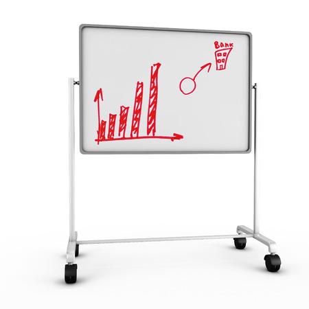balanced scorecard: Whiteboard. Whiteboard with the drawn graphs. Whiteboard isolated on white background. 3d render image.