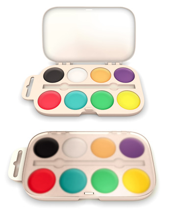 paintbox: Box of paints isolated on white background. 3d render image. Stock Photo