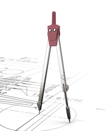 Pair of compasses on the background of the drawing. 3d render image. photo