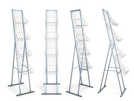 Rack for promotional materials from different angles isolated on white background. 3d render image. photo