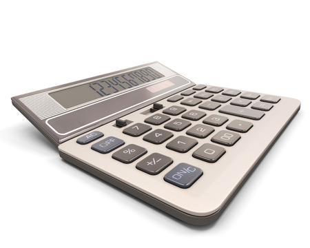 Calculator close-up isolated on white background. 3d render image. photo