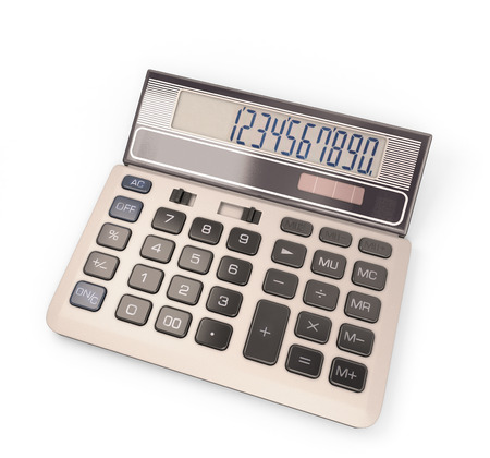 Calculator with number on display on white background. 3D illustration. illustration