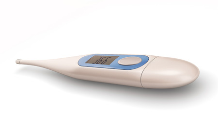 digital thermometer: Electronic thermometer isolated on white background. 3d render image. Digital thermometer.