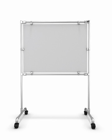 whitw: Empty whitw office board front view isolated on white background. 3d render image.