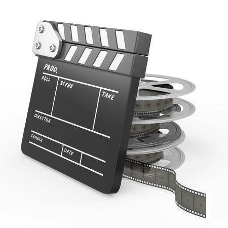 Film and Clapper board isolated on white background. 3d render image. photo