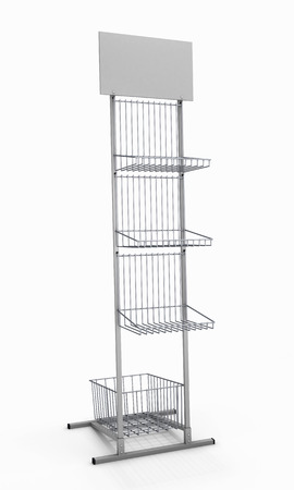 Metal rack isolated on white background. 3d render image. photo