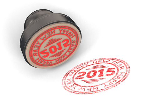 validity: Stamp rubber with the text Happy new year 2015 isolated on white background. 3d render image.