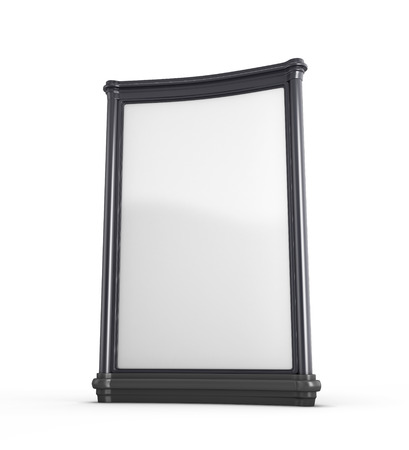 Empty white billboard in black frame isolated on white background. 3d render image.