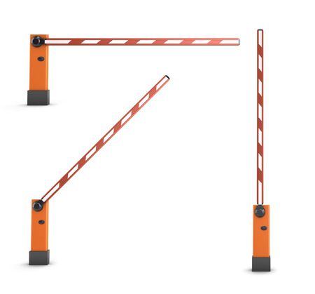 Red turnpikes for parking or construction isolated on white background. 3d render image.