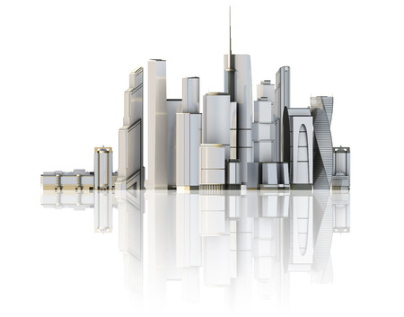 3d city isolated on mirror floor. 3d rendered illustration of a futuristic city. illustration