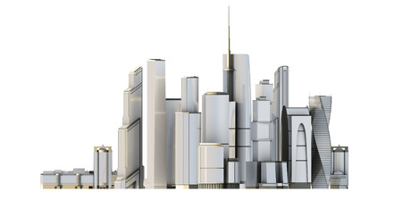 3d city isolated on white background. 3d render image.