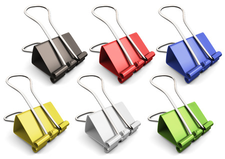 paper clips: Binder clips set. Paper clips collection. Illustration on white background.