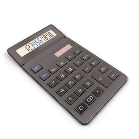 Calculator isolated on white background. 3d render image. Calculator close-up. photo