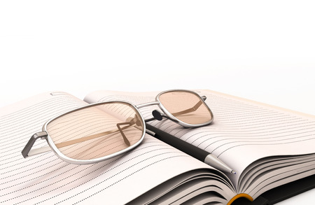 Fountain pen notebook and glasses close-up. 3d render image photo