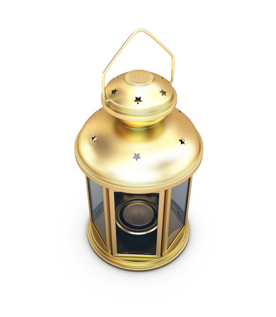 Gold decorative lantern in the old style isolated on white background. 3d render image. photo