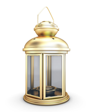 Gold decorative lantern in the old style isolated on white background photo