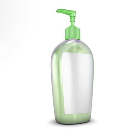 medical shower: Green bottle with soap isolated on white background. Stock Photo