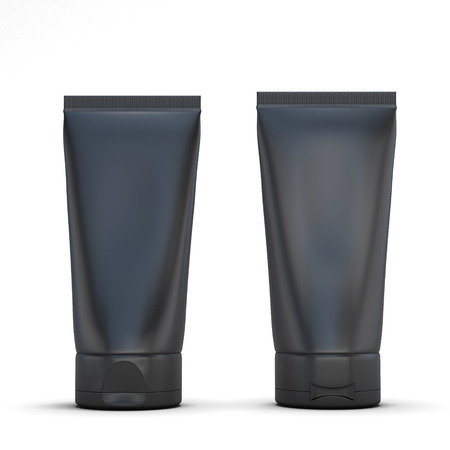 aftershave: Standing black tubes, front and rear. 3d render image.