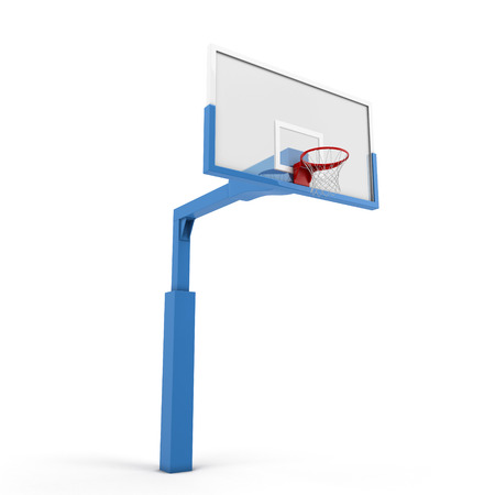 goal cage: Basketball backboard isolated on white background. 3d illustration.