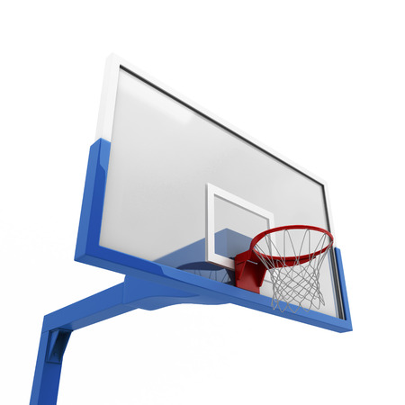 goal cage: Basketball backboard close-up isolated on white background
