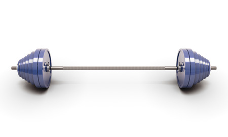 kilos: Blue barbell isolated on white Stock Photo