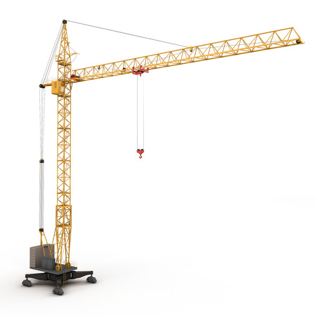 Building crane isolated on white background. 3d rednder image. photo