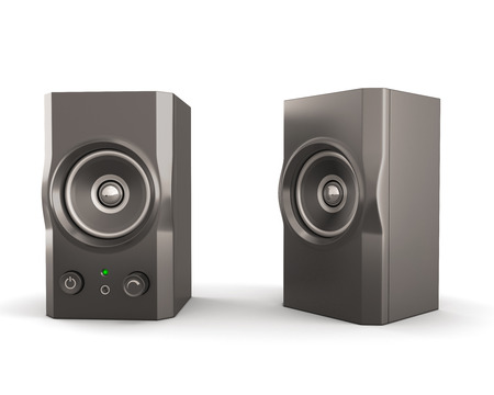 Computer speakers isolated on white background. 3d render image photo