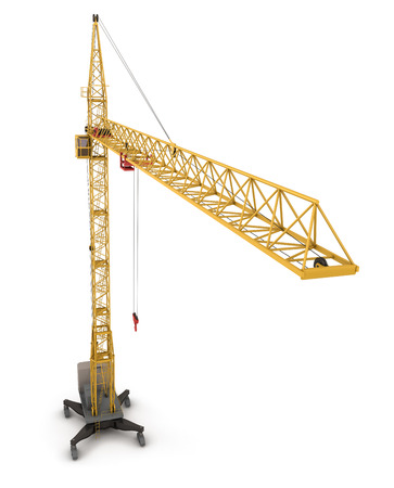 commercial activity: Construction crane, view from the birds-eye view. 3d render illustration.
