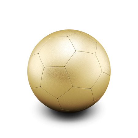 bronzed: Gold soccer ball isolate on white background. 3d render image.