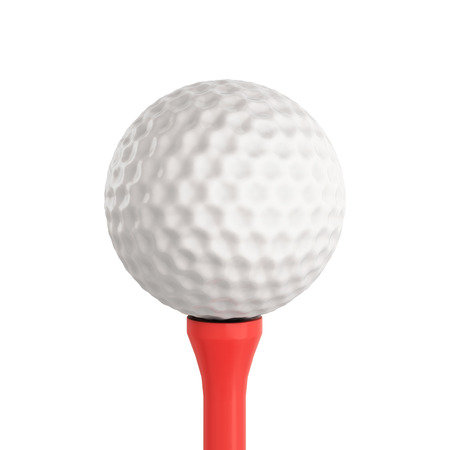 3d ball: Golf ball isolated on white background. 3d render image. Golf ball close-up.