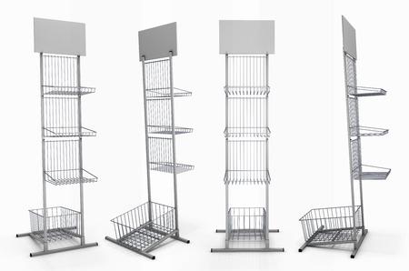 Estante de metal con canastas para exposición de productos con estante en blanco de diferentes especies. 3d imagen. Estante de metal con canastas aisladas sobre fondo blanco. Foto de archivo