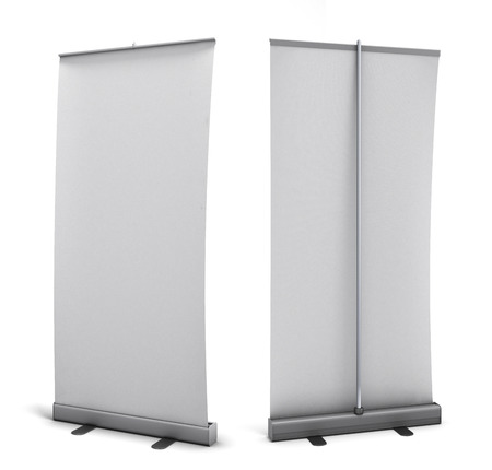vertical banner: Empty rollup rear view and front view isolated on white background. 3d render image.